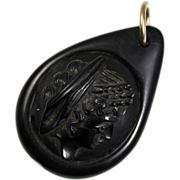 Victorian Whitby Jet Cameo Pendant