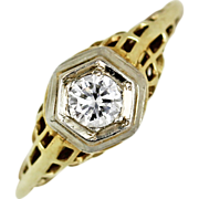 Art Deco Diamond Engagement Ring in 14kt Yellow and White Gold Filigree Setting