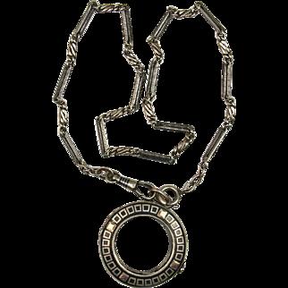 Victorian Niello Silver Locket and Pocket Watch Chain