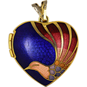 Guilloche Enamel Bird Locket