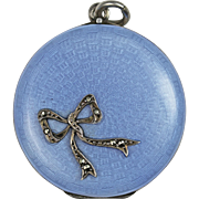 Edwardian Blue Guilloche Bow Silver Locket