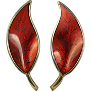 David Andersen Red Enamel Leaf Sterling Silver Earrings