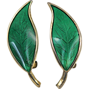 David Andersen Green Enamel Leaf Sterling Silver Earrings
