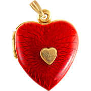 Art Deco Era Red Guilloche Enamel Heart Locket