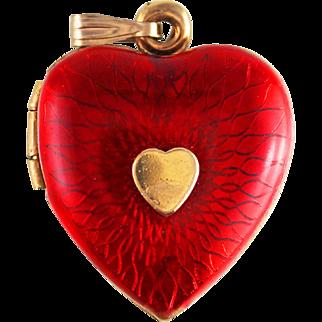 Art Deco Era Red Guilloche Enamel Heart Locket