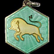David Andersen Taurus Zodiac Sterling Silver Enamel Charm or Pendant