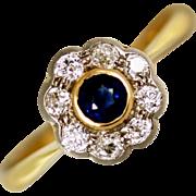 Edwardian Sapphire and Diamond 22kt Gold Daisy Ring