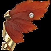 Carnelian and Diamond 14kt Gold Leaf Brooch