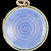 Antique David Andersen Blue Guilloche Sterling Silver Enamel Locket