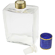 Vintage German Glass Perfume Bottle with Blue Guilloche Enamel Top