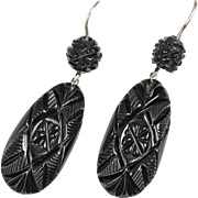 Victorian Whitby Jet Carved Sterling Silver Earrings