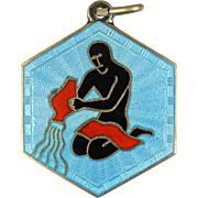 David Andersen Aquarius Zodiac Sign Sterling Silver Pendant or Charm