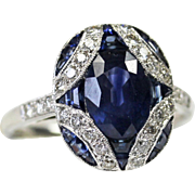 Rhapsody in Blue: Vintage Art Deco Style Sapphire and Diamond 18 Kt White Gold Ring