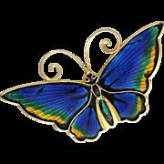 Vintage David Andersen Blue Guilloche Enamel Sterling Silver Butterfly Brooch