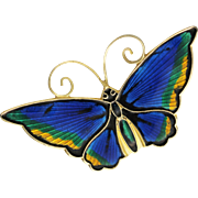 Vintage David Andersen Blue Guilloche Enamel Sterling Silver Butterfly Brooch
