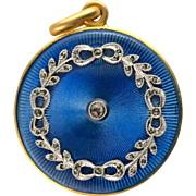 Antique Edwardian Blue Guilloche Diamond, Platinum and 22kt Gold Locket