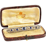 Antique Edwardian Sapphire 18kt White and Yellow Gold Bar Brooch in Original Box