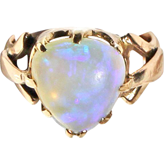 Edwardian Contra Luz Opal 18kt Gold Ring with English Hallmarks