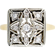 Antique Edwardian Diamond 14kt Gold Ring