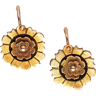 Antique Victorian Back-to-Front 14kt Gold Earrings