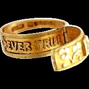 Edwardian Locket Posey Ring 18kt Gold Full English Hallmarks for 1907