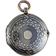 Victorian Niello Silver Garland Locket
