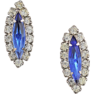 Vintage Retro 1950s Costume Marquise Cut Blue Paste Earrings
