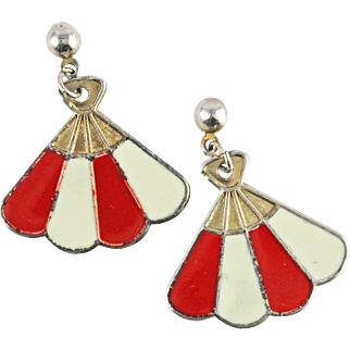 Vintage Red and White Enamel Fan Earrings