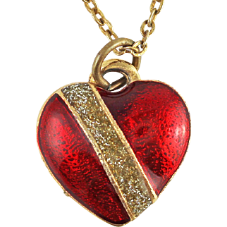 Vintage Red Enamel Heart Pendant