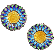 Vintage Blue and Yellow Guilloche Enamel Daisy Earrings