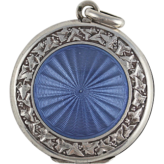 Antique Edwardian or Belle Epoque French Blue Guilloche Enamel Silver Locket with Maker's Marks