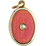 Antique Edwardian Carter, Howe & Co 14k Gold Pink Guilloche Enamel Locket with Natural Pearl