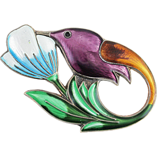Vintage David Andersen Enamel Hummingbird Sterling Silver Brooch