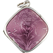 Antique Art Nouveau Purple Lavender Guilloche Enamel Sterling Silver Lily Flower Locket