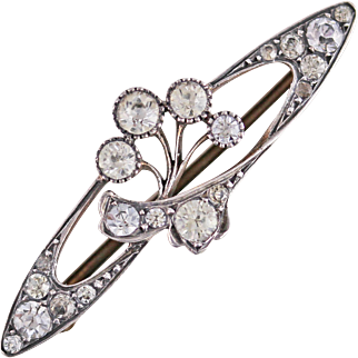 Antique Art Nouveau Sterling Silver Paste Brooch