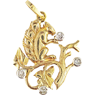Late Edwardian Diamond and 18k Gold Squirrel with Acorn Pendant or Charm