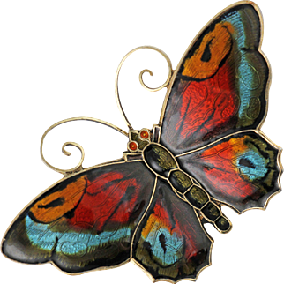 Vintage David Andersen Multicolor Guilloche Enamel Sterling Silver Butterfly Brooch