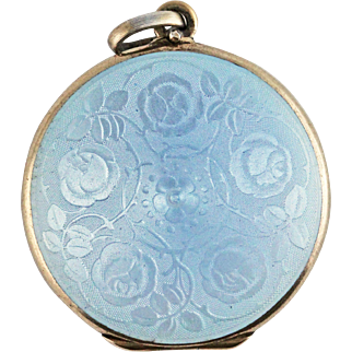 Antique Edwardian David Andersen Blue Enamel Guilloche Sterling Silver Locket