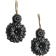 Antique Victorian Whitby Jet Sterling Silver Back to Front Black Daisy Earrings
