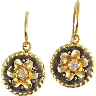 Antique Victorian Diamond and Jet 18k Gold Back to Front Earrings