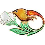 David Andersen Enamel Hummingbird Sterling Silver Brooch