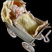Early 1900's Tin Mesh Pram, Velvet Quilt, Celluloid Baby