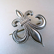 Victorian Fleur de Lis Sterling Watch Holder Brooch Signed