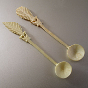 Set 2 Miniature Antique Carved Owl Spoons Doll Accessories