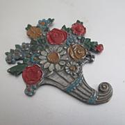 Painted Metal Die Cut Miniature Cornucopia Dollhouse Deco