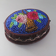 Victorian Native Beaded Velvet Pin Box Rose Basket Mirror