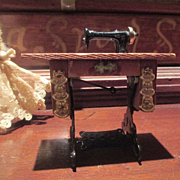 Dollhouse Miniature Gilt Treadle Sewing Machine with Bench