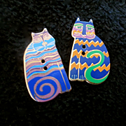 Laura Burch Enameled Buttons Cats Repurpose For Earrings