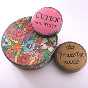 3 Deco Advertising Era Mini Tins Cutex Princess Pat
