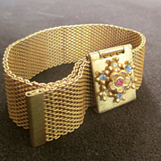 40's- 50's Mesh Gold Tone Buckle Bracelet Jeweled Flower
